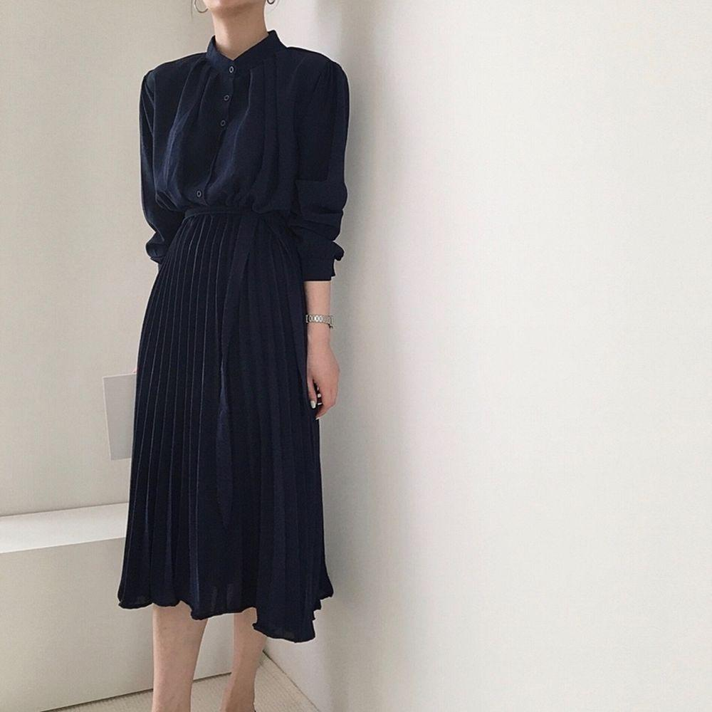 Long Sleeve Office Shirt Pleated Elegant Dress Women Vintage Ladies Dresses Korean Casual Woman Dress Vestidos Robe Femme 2020 4