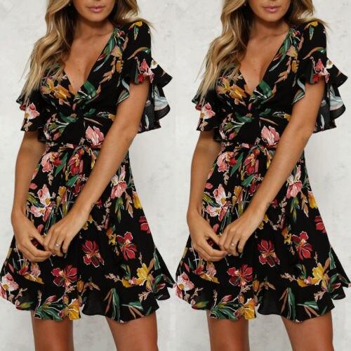 New Women Long Boho Dress Summer Maxi Print Shirts Casual Chiffon Ruffles Sleeve Shirt Elegant Classic Dresses 1