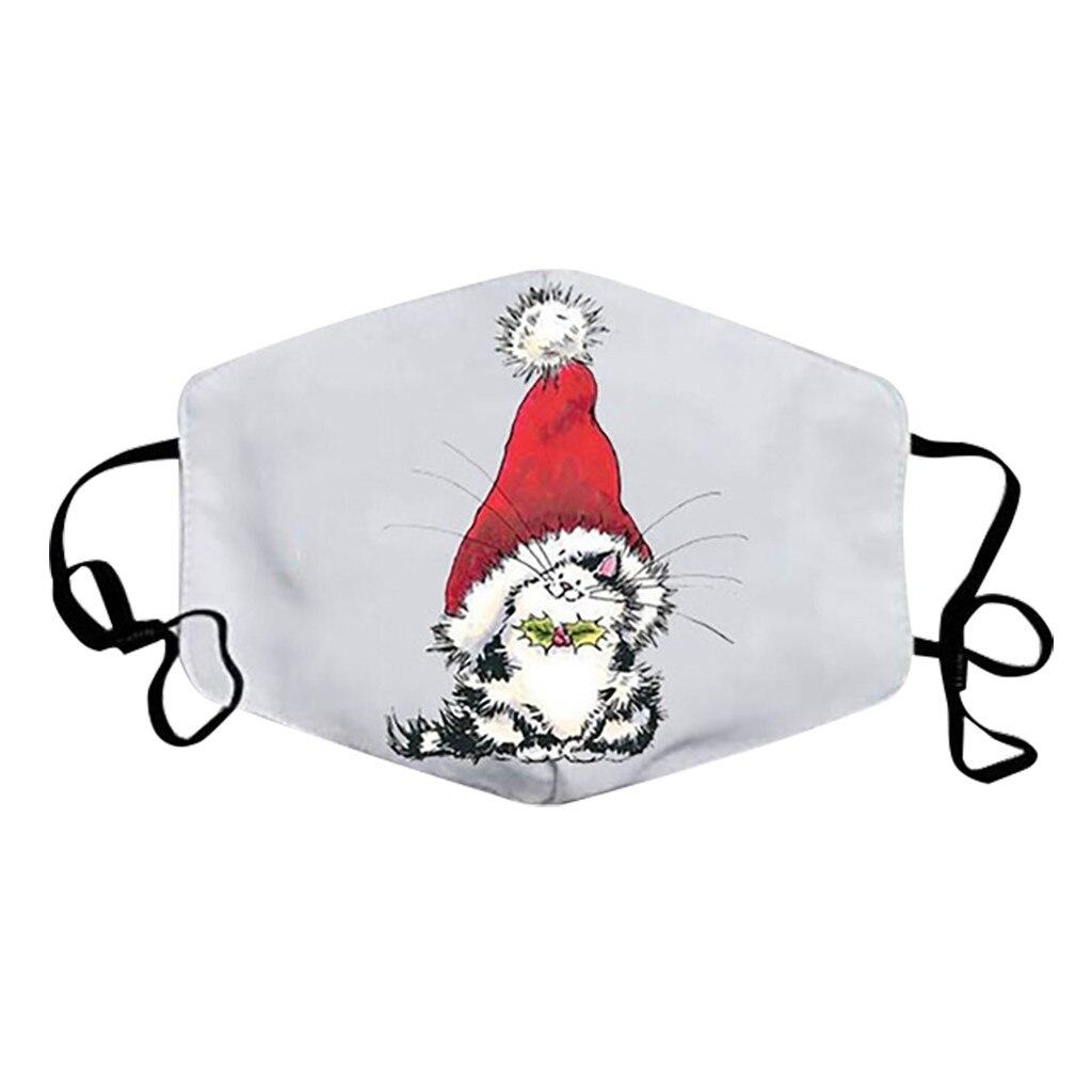 Unisex Merry Christmas Face Mask Cute Animal Snowman Santa Claus Printing Mask Adjustable Washable Face Mask Mascara Maszk 3