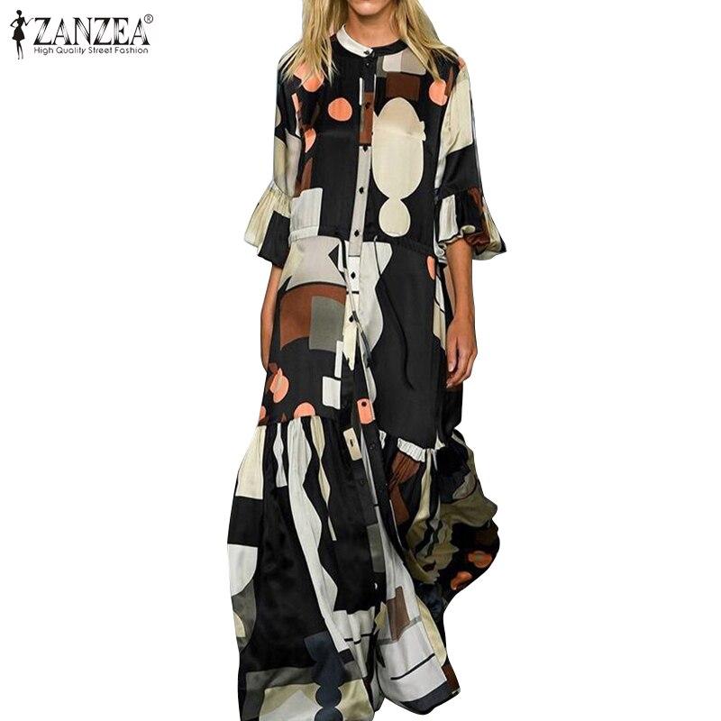 ZANZEA Summer Fashion Printed Party Shirt Dress Short Flare Sleeve Sundress Women Casual Lace-Up Bohemian Long Vestidos Female 1