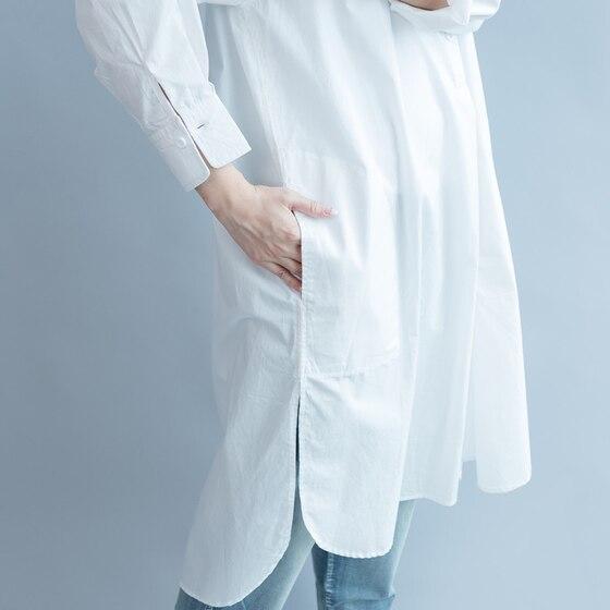 Women Dress Cotton Shirt Dress White Loose Plus Size Long Women Dresses Vintage Spring Summer Casual Wear Free Size New 2019 4