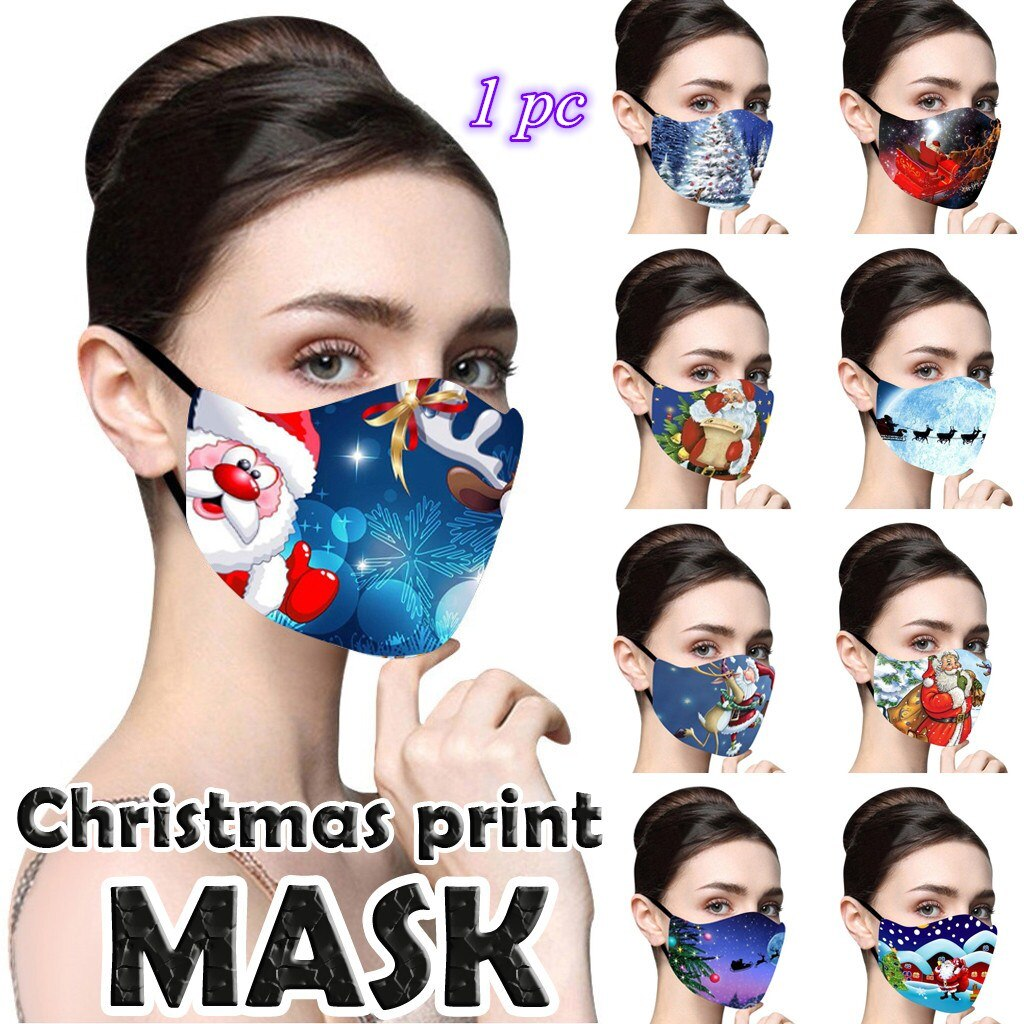 1 PC Christmas Face Mask Printed Reusable Washable Mask Breathable Multi-Purpose Mouth Cover
