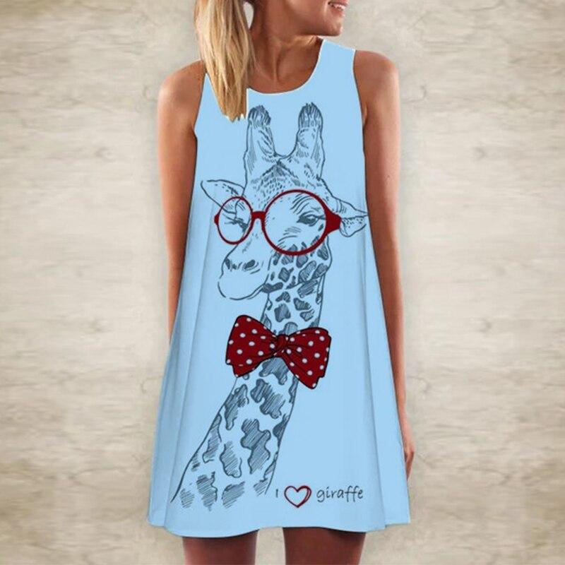 5XL Women Giraffe Print T Shirt Mini Dress Summer Sleeveless Party Dress 2020 Fashion Elegant O Neck A-Line Dress Vestidos Femme 4