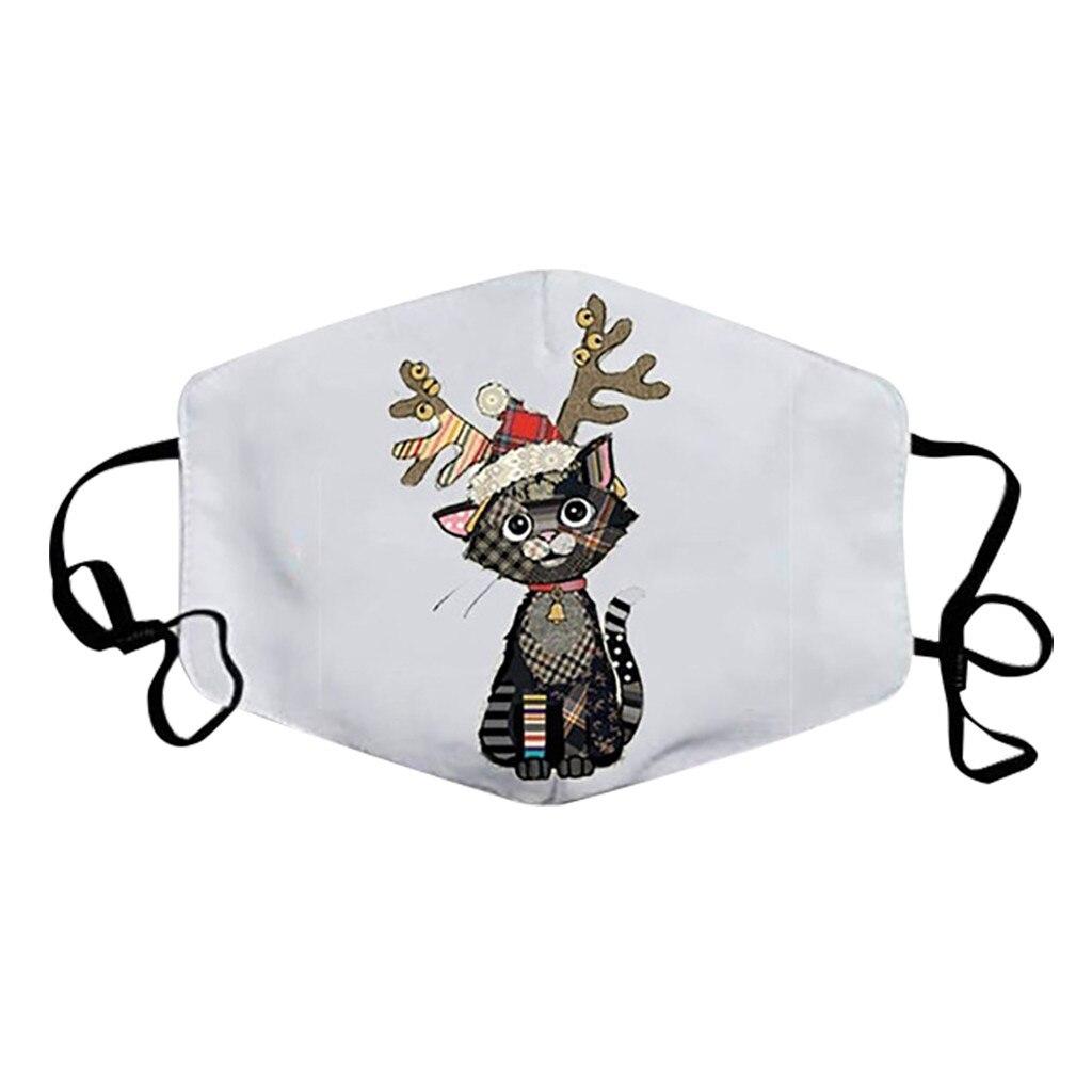 Unisex Merry Christmas Face Mask Cute Animal Snowman Santa Claus Printing Mask Adjustable Washable Face Mask Mascara Maszk 2