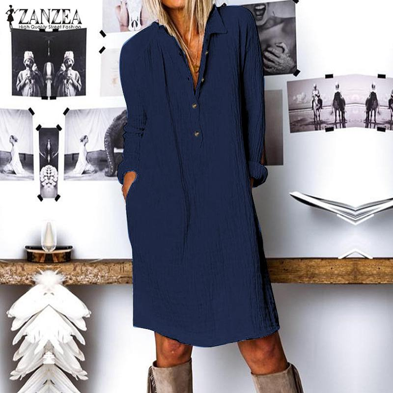ZANZEA Fashion Autumn Long Shirt Dress Women Lapel Neck Long Sleeve Buttons Vestido Casual Loose Cotton Linen Sundress Plus Size 2