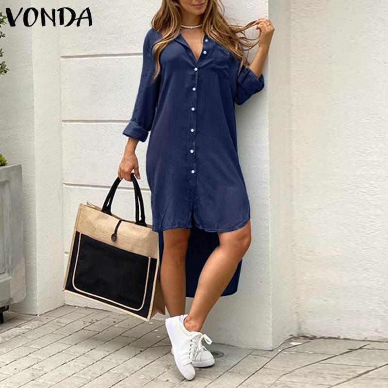 Loose Party Robe Asymmetric Shirt Dress VONDA Women Lapel Dress Autumn Fashion Solid Demin Dress Summer Sundress Bohemian Dress 3