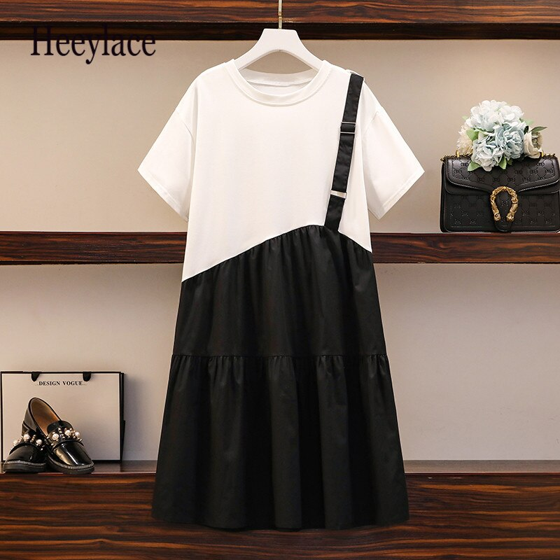 Plus Size Women Casual Dress Summer 2020 Korean Fashion Short Sleeve T Shirt Patchwork Single Strap Loose Ruffle Dresses 5XL