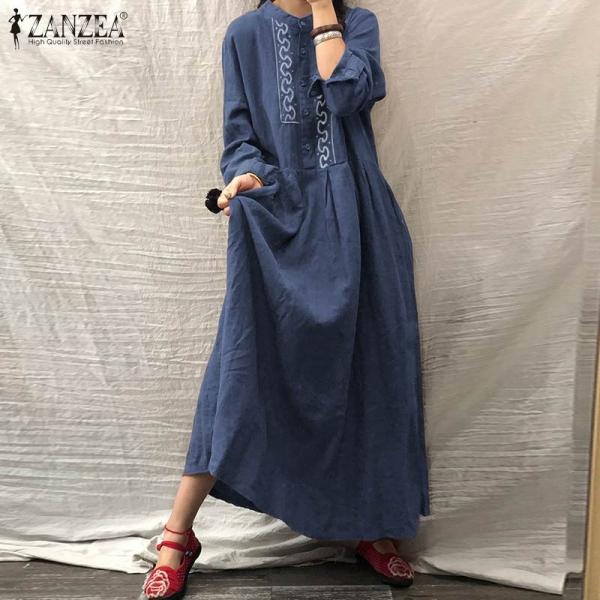 Cotton Linen Kaftan Classic Embroidery Work Lengthy Shirt
