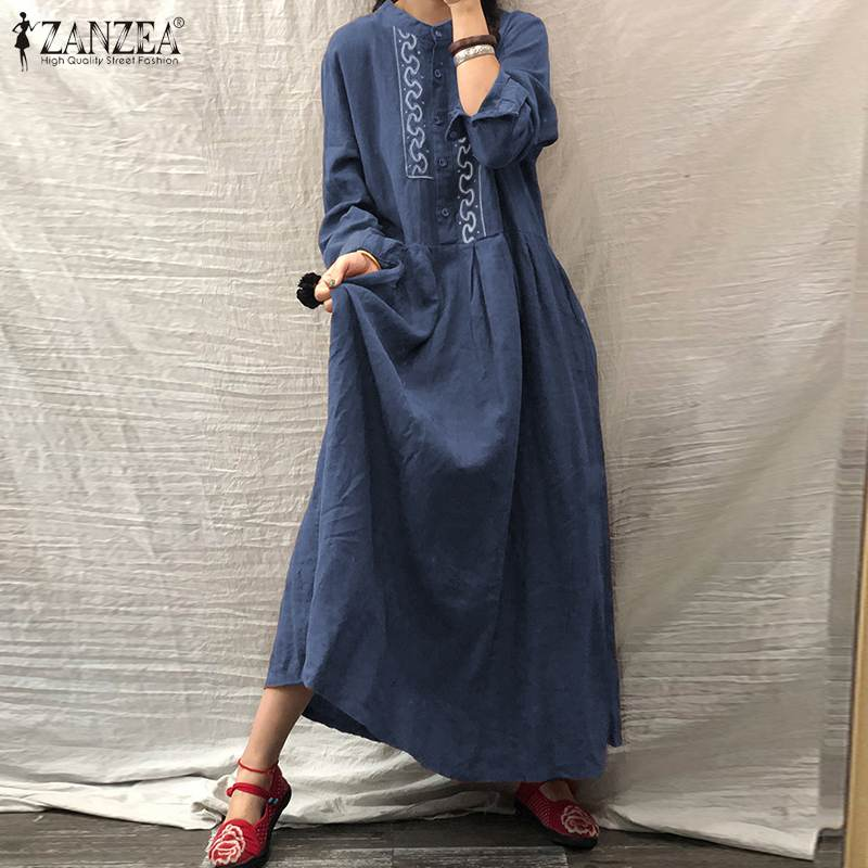ZANZEA Autumn Long Sleeve Sundress Women Casual Cotton Linen Kaftan Vintage Embroidery Work Long Shirt Dress Female Robe