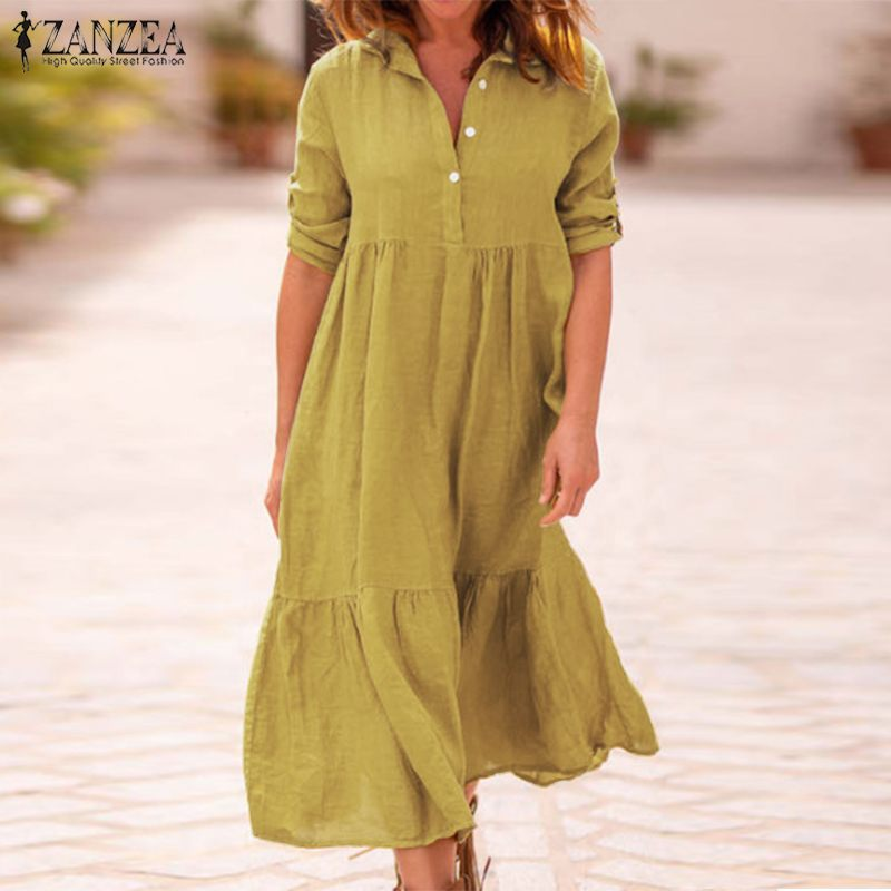 ZANZEA Women Lapel Neck Cotton Linen Dress Autumn Casual Solid Work OL Sundress Robe Femme Long Sleeve Shirt Vestido Ladies 5XL 4
