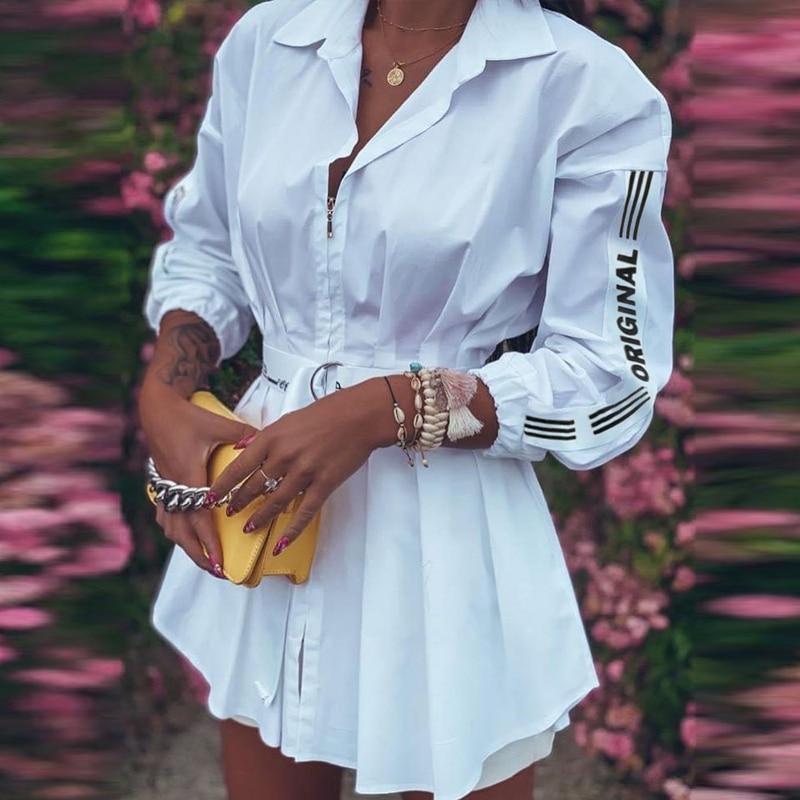 Women Elegant Turn-Down Collar Shirt Dress 2020 Autumn New Fashion Zipper Mini Dresses Office Lady Lantern Sleeve Letter Dresses 3