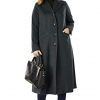 Women's Plus Size Full Length Wool Blend Coat