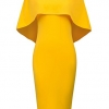 Women's Off Shoulder Fitted Club Midi Dress Size 2XL Yellow