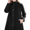 Women's Plus Size Fleece Swing Funnel-Neck Coat