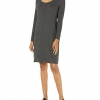 Spandex Fine Rib Long-Sleeve Scoop Neck Dress