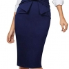 Pleated Bow High Waist Slim Work Office Business Pencil Skirt