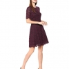 Women's Half Sleeve Lace Crewneck Fit and Flare Dress