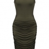 Women's Summer Sexy Sleeveless Sundress Fold Bodycon Tank Dress
