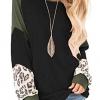 Leopard Print Sweatshirt Raglan Long Sleeve Loose Tunic Shirts