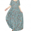 Loose Bohemian Short Sleeve Floral Dress Long Maxi