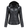 Faux Leather Jacket Women Motorcycle Coat for Biker