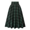 Women Plaid Skirt Vintage High Waist Pleated with Pockets