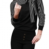 Tie-Bow Neck Striped Blouse Long Sleeve Shirt Office