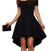 Dress Sarin Mathews Women Off The Shoulder Short Sleeve High Low Cocktail Skater Dress Black-2XL