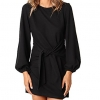 Women's Elegant Long Lantern Sleeve Short Dress Crewneck Tie