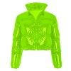 Women Long Sleeve Zipper Puffer Jacket Stand Collar