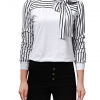 Women's Tie-Bow Neck Striped Blouse Long Sleeve
