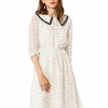 Peter Pan Collar Dresses Star Puff Sleeve Chiffon Shirt Dress