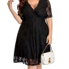 Women Lace V Neck Plus Size Cocktail Dress Black Wedding