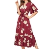 Floral Ruffle Hem Peplum Long Dresses with Bel