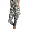 Jumpsuit Drawstring Waist Stretchy Long Pant Romper with Pockets