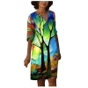 Women Shirt Dress Vintage Floral Print Knee Length