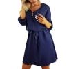 Solid Design Buttons Belt Mini Sundress Dress