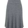 Womens Lightweight Fold Over Flared Midi Skirt