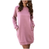 Long Sweatshirt Dress Solid Crewneck Casual Loose