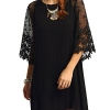 MakeMeChic Women's Casual Crewneck Half Sleeve Summer Chiffon Tunic Dress Black XL