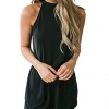 Neck Shorts Elastic Waist Solid Color Jumpsuit Rompers