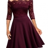 Lace Half Sleeve Boat Neck Formal Swing Dress