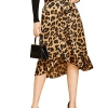 Leopard Print Ruffle Hem High Low Split A Line Midi Wrap Skirt