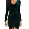 Plus Size Emerald Green Velour Wrap Christmas Night Out Dresses