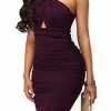 Elegant Crisscross V Neck Sleeveless Midi Club Dresses Purple