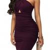 Elegant Crisscross V Neck Sleeveless Midi Club Dresses Purple