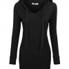 Long Sleeve Tunic Sweatshirt String Hoodie With Pocket Black
