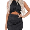 Black Dresses for Womens Sexy Hollow Out Twist Slim
