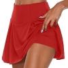 Plain Pleated Skater Skirt with Shorts Casual Mini Skirt