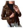 Women Cool Faux Leather Jacket Long Sleeve Zipper